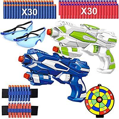 2 Pistolas de Juguete para Niños, Pistola Bláster con 60 Flechas + 2 Gafas Protectoras, Diana y cinturón de flechas