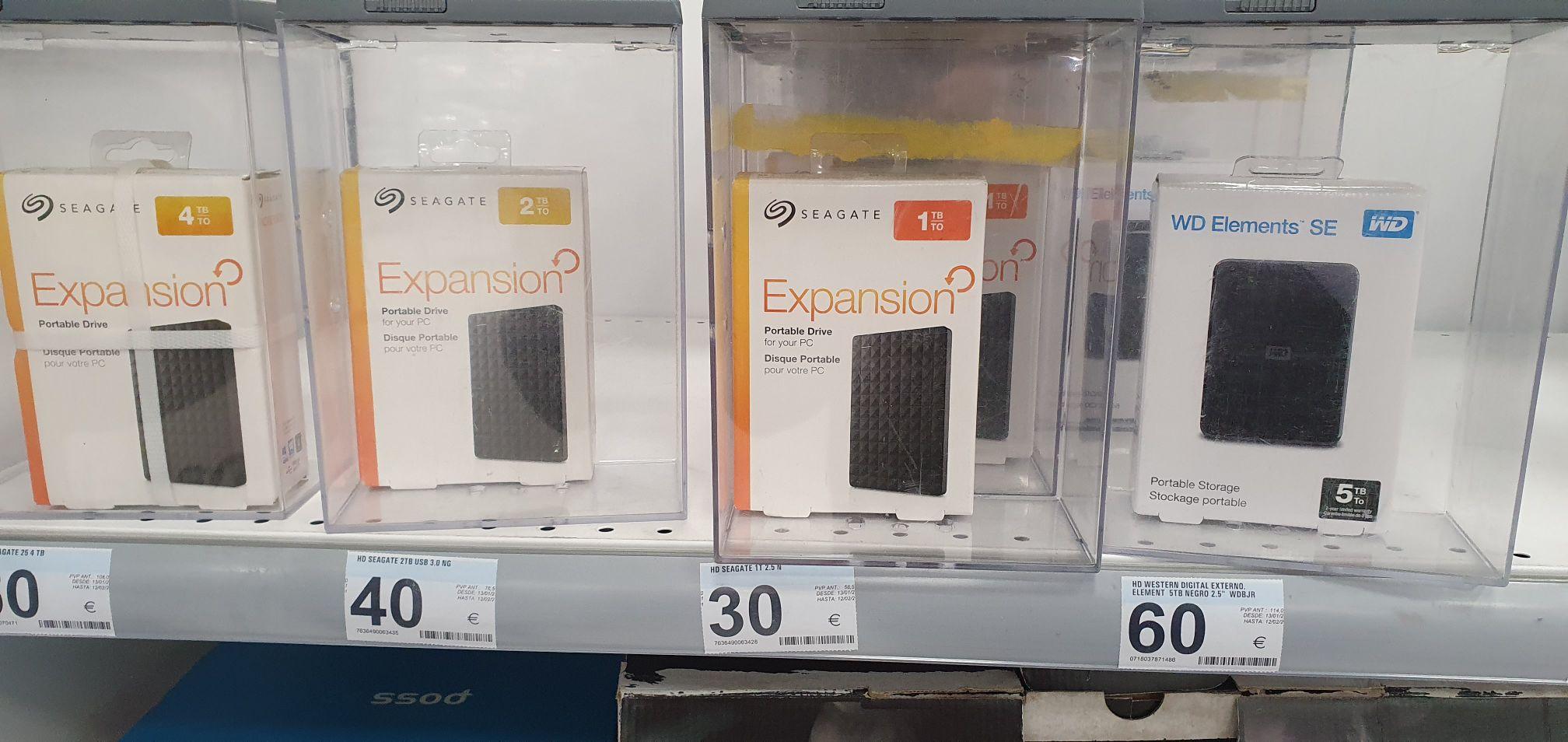 Discos duros 1TB 30€, 2TB 40€, 5TB 60€ en Carrefour Mallorca