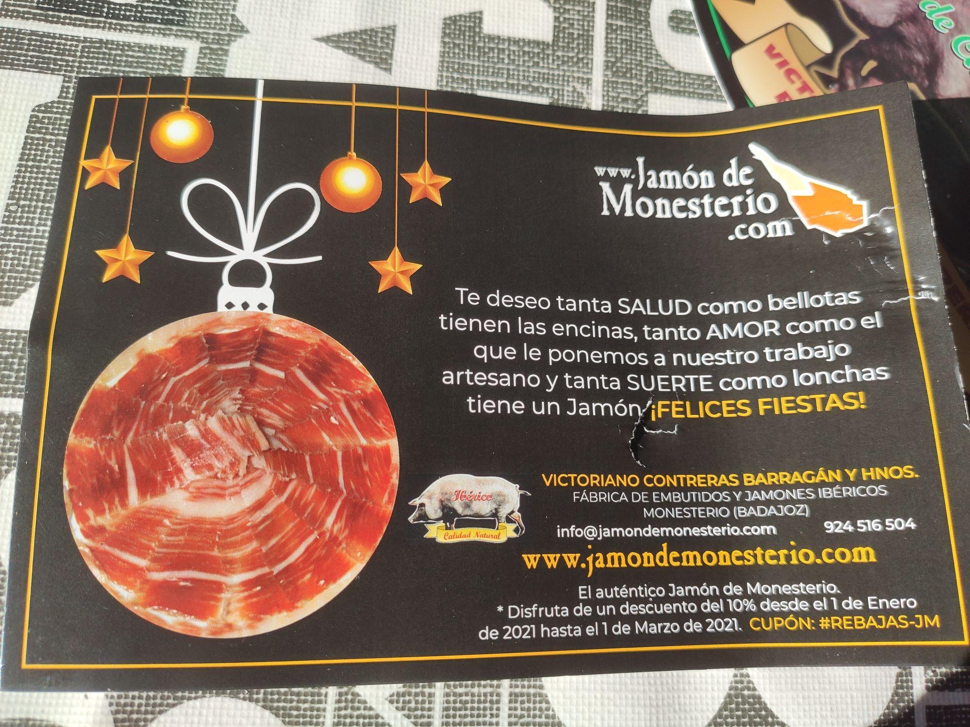 10% de descuento en la web de www.jamondemonesterio.com