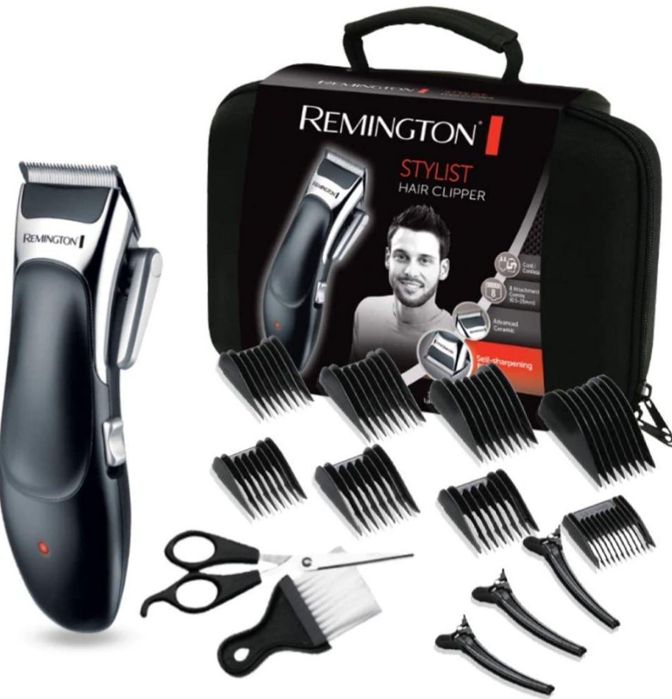 Remington. Máquina de Cortar Pelo Profesional, Kit 8 Accesorios + 8 Peines, Recargable, Cuchillas de Cerámica.