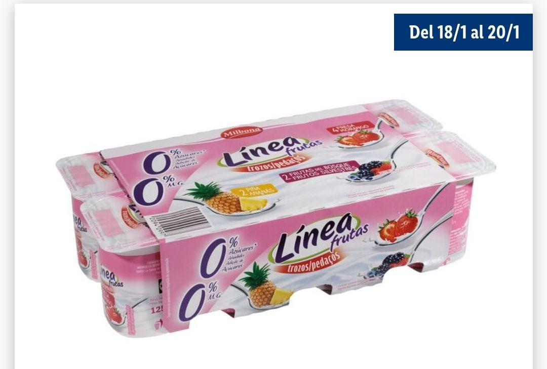 Yogur línea frutas 0% azúcares añadidos. 0% materia grasa(pack8)