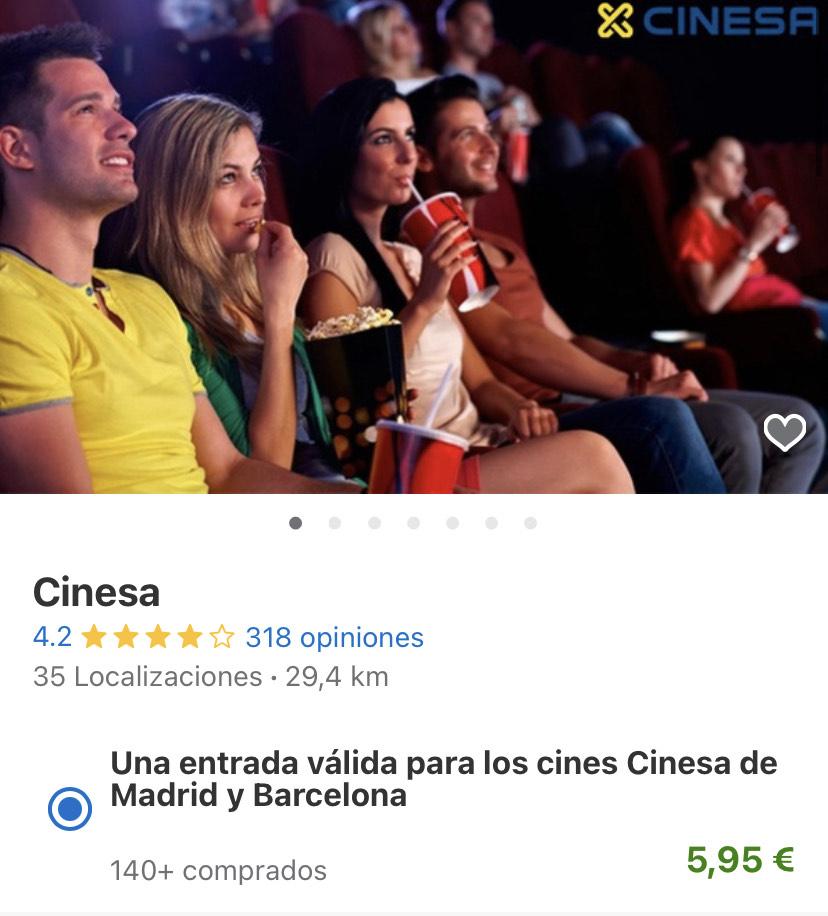 Entrada a 5,95€ para CINESA de Madrid y Barcelona