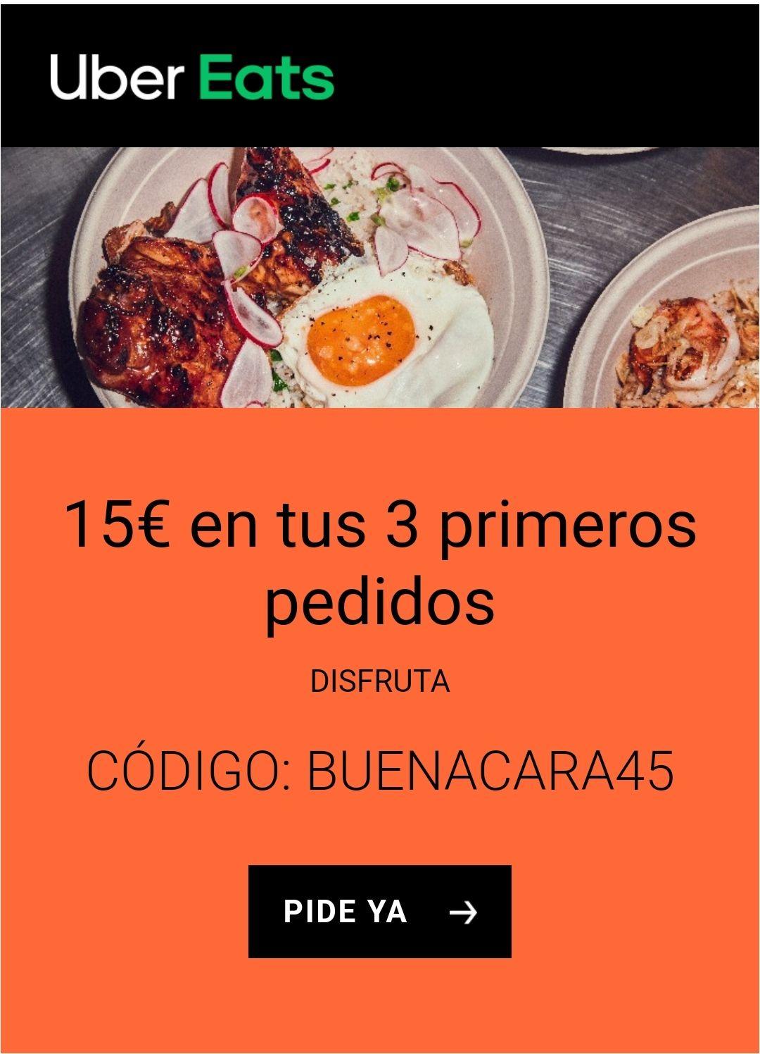 15€ de descuento en Uber Eats para los 3 primeros pedidos