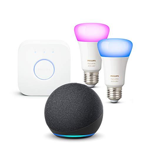 Nuevo Echo Dot (4.ª generación), Antracita + Philips Hue Bombilla Inteligente Starter Kit (2x E27), compatible con Alexa