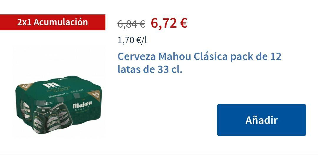 2x1 Cerveza Mahou Clásica pack de 12 latas de 33 cl.