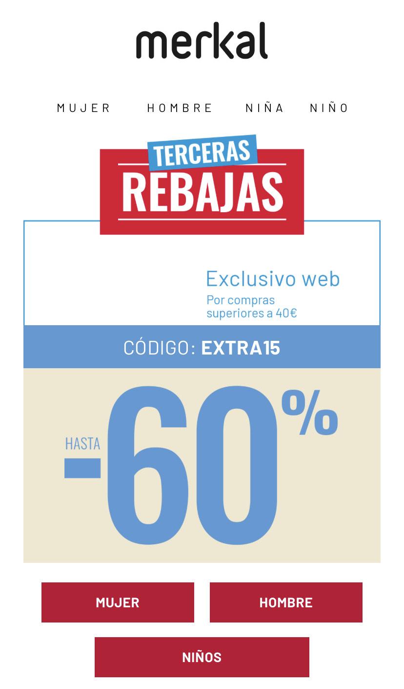Dto. 15% extra en productos ya rebajados