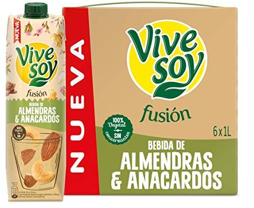 Pack de 6 Bebida vegetal Vivesoy Fusión Almendra y Anacardo 1l unidad