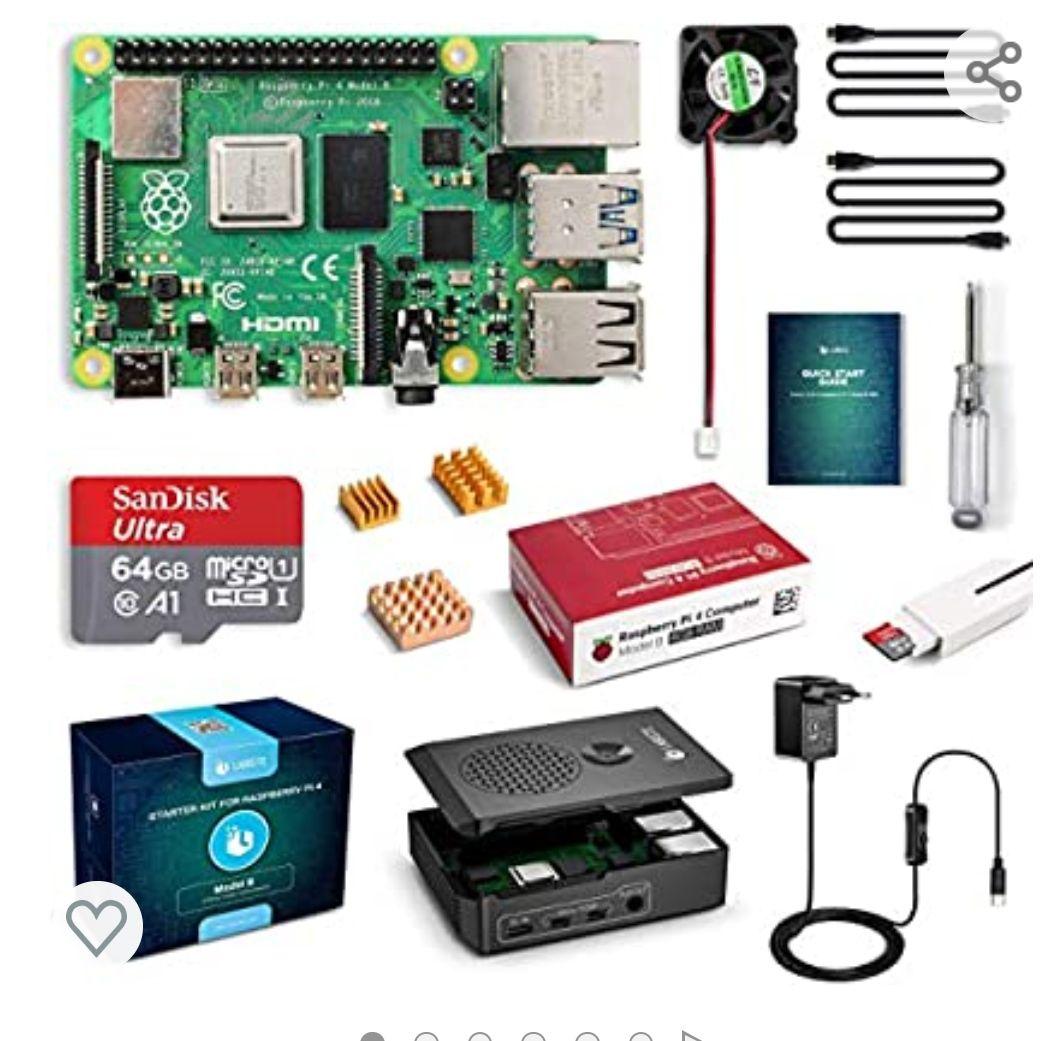 LABISTS Raspberry Pi 4 4 GB Kit Incluido Tarjeta SD de 64GB Precargada con Raspberry Pi OS, 5.1V 3A Mi HDMI, 3 Disipadores