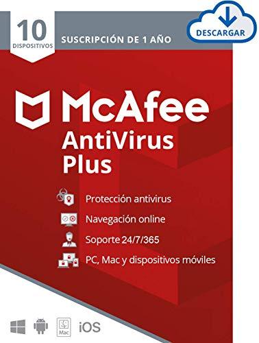Suscripción de 1 año McAfee AntiVirus Plus 2021,10 Dispositivos