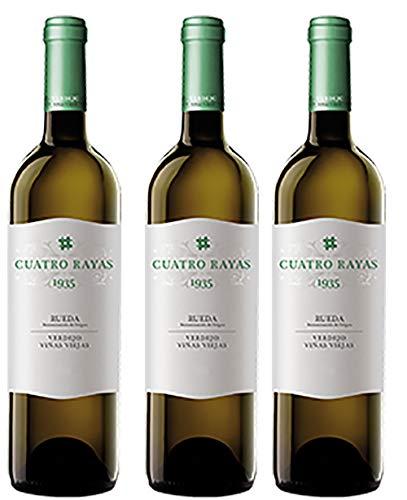 Pack de 3 Botellas, de, Vino Blanco Verdejo 1935 D.O. Rueda, Cuatro Rayas, de 750 ml unidad.