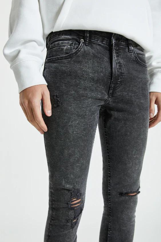Jeans negros rotos apretados - Hombre (Super skinny)