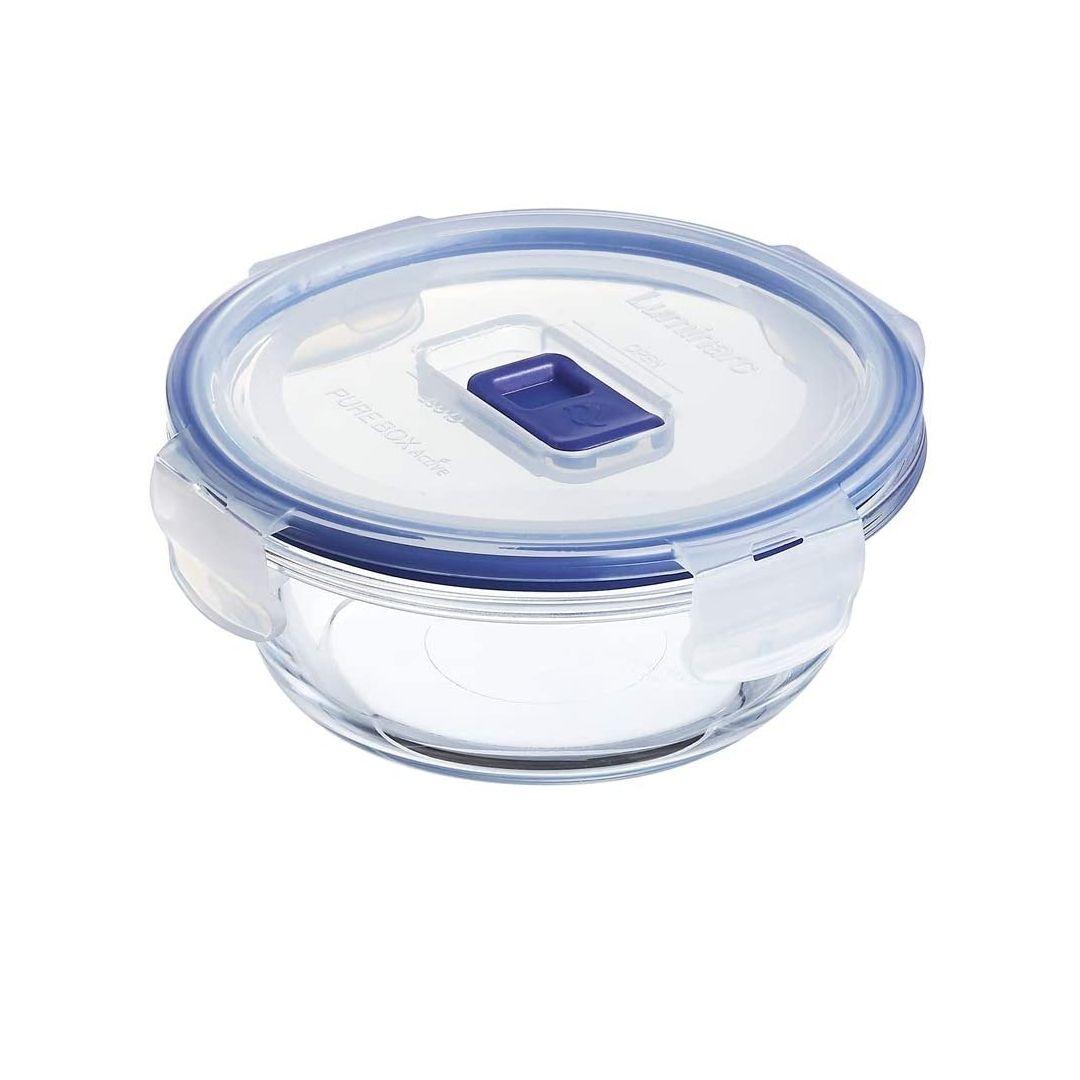 Luminarc Pure Box Active - Recipiente hermético de vidrio, redondo, tamaño 0,42 litros