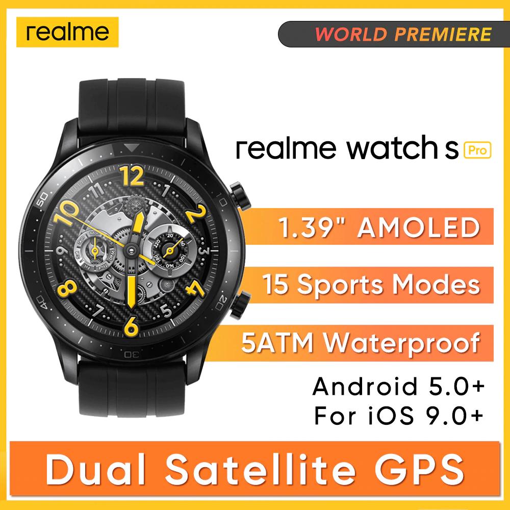 """Realme-reloj inteligente S pro, dispositivo con pantalla de 1,39 """", procesador Dual y GPS"""