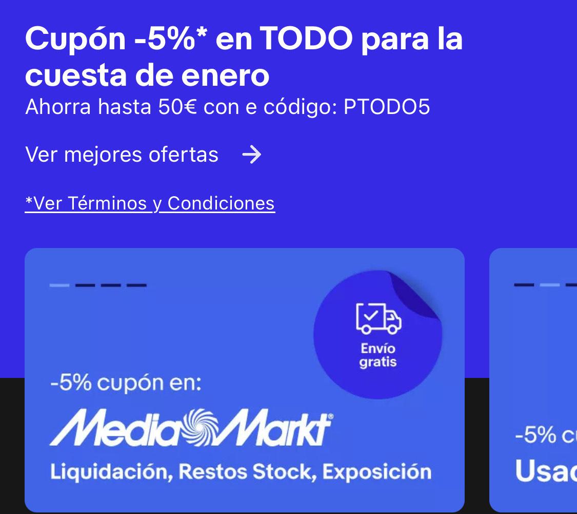 5% de descuento en TODO Ebay (usuarios seleccionados)