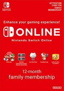 12 meses de suscripción familiar a Nintendo Switch Online