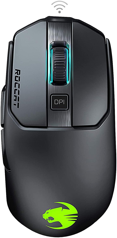 Roccat Kain 200 AIMO RGB Gaming Mouse (16,000 DPI Owl-Eye Sensor, Wireless, Titanium Click Technology) Black