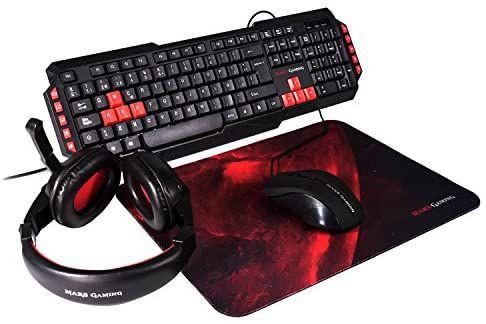 Pack ratón + cascos + teclado + alfombrilla Mars Gaming