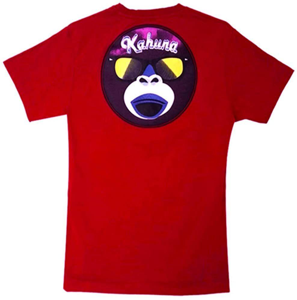 Camiseta surfera para Hombre de Manga Corta Casual Streetwear Monkey Logo Rojo Vulcano algodón Talla M