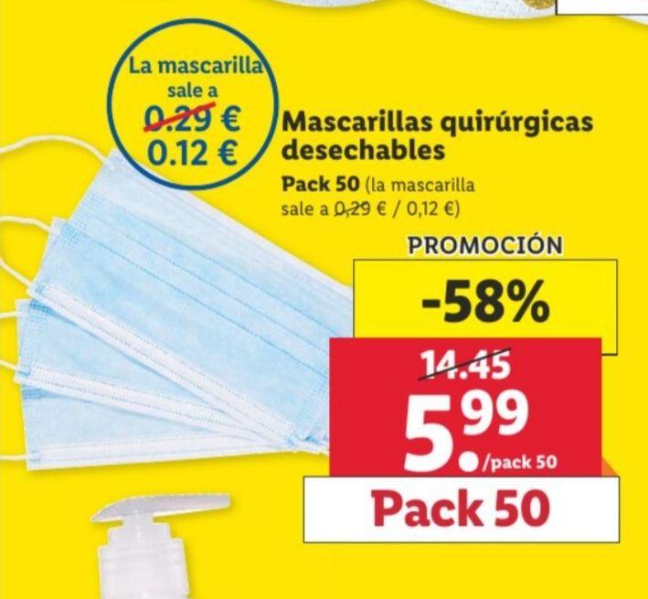 Pack 50 Mascarillas quirúrgicas