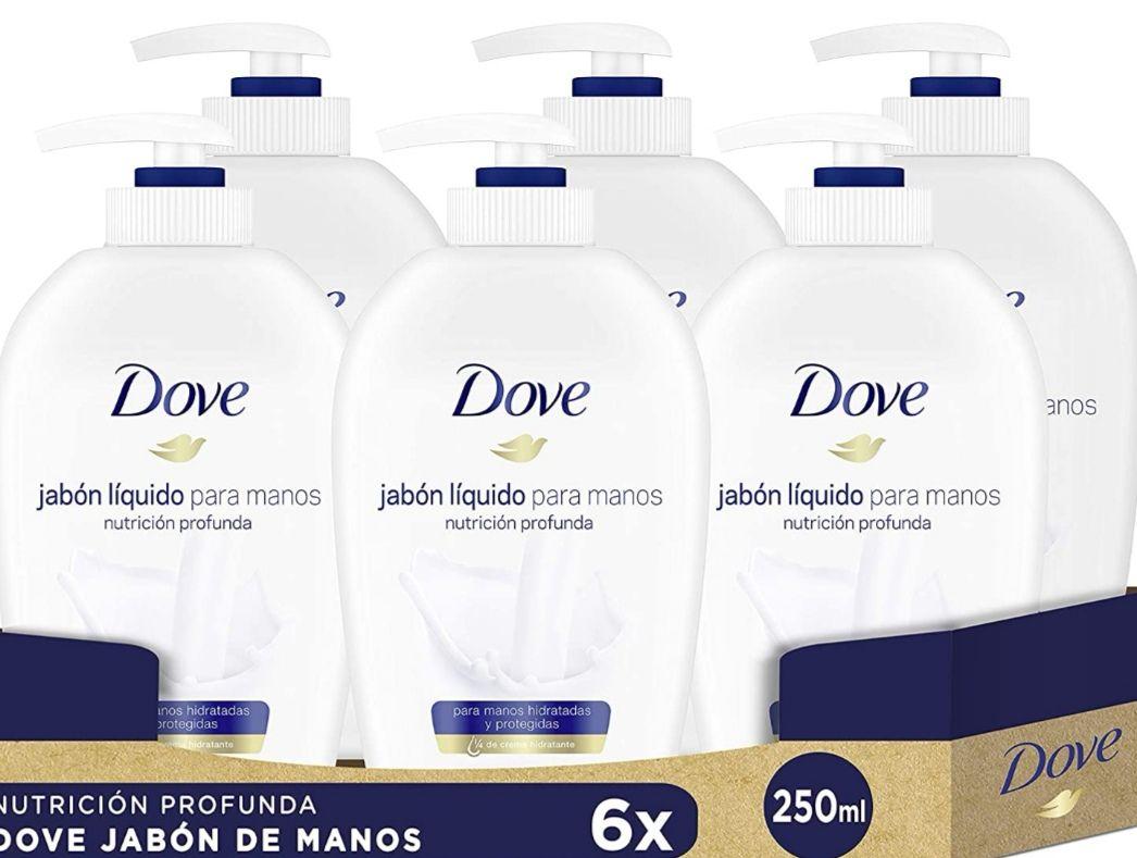 (PACK 6X250ml) Dove Jabón para manos dispensador, con 1/4 de crema hidratante (1.15€ und.)