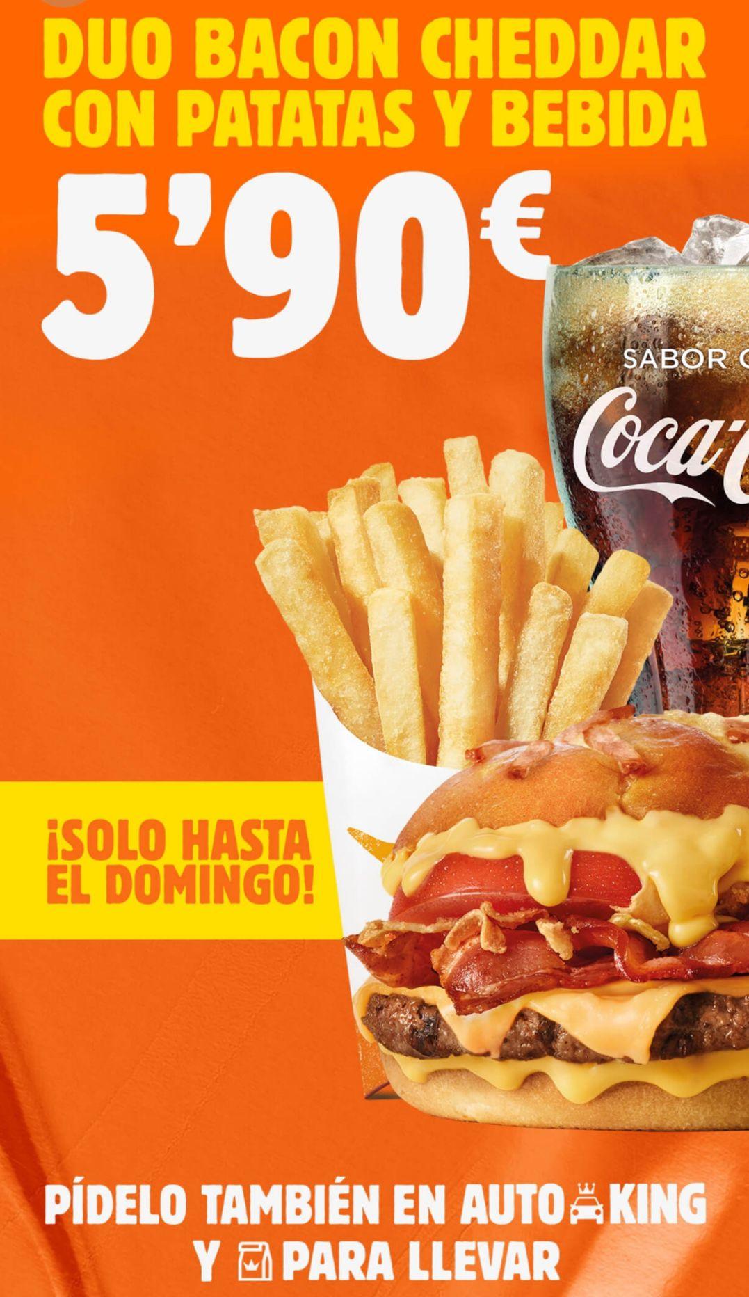 Menú Duo Bacon Cheddar en Burger King