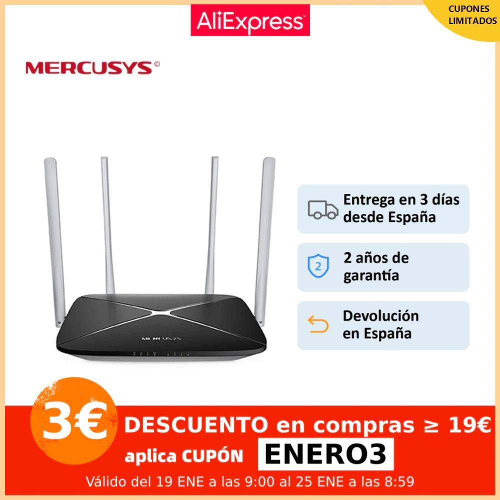 Router WiFi MERCUSYS AC12, velocidad rápida, doble banda AC 1200Mbps, 2.4GHz (300Mbps) y 5GHz (867Mbps), 4 antenas 5dBi