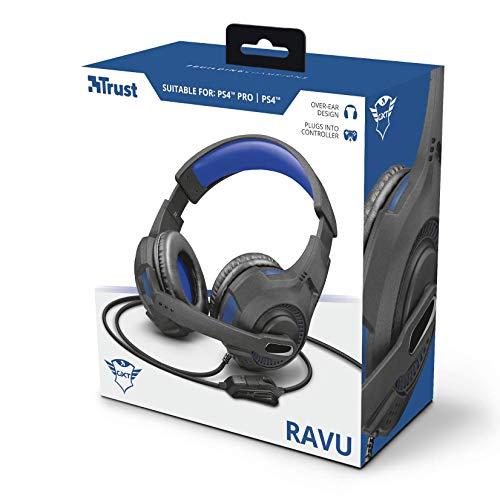 Trust Gaming Cascos PS4 & PS5 GXT 307B Ravu Auriculares Gamer con Micrófono Plegable y Corto y Diadema Ajustable