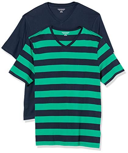 Amazon Essentials - Camiseta de cuello de pico para hombre, paquete de 2 unidades