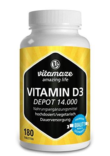 Vitamaze® Vitamina D3 14.000 UI Altamente Concentrada (Dosis de 14 Días), 180 Comprimidos Vegetariano Vitamin D Pura Suplemento sin Aditivos