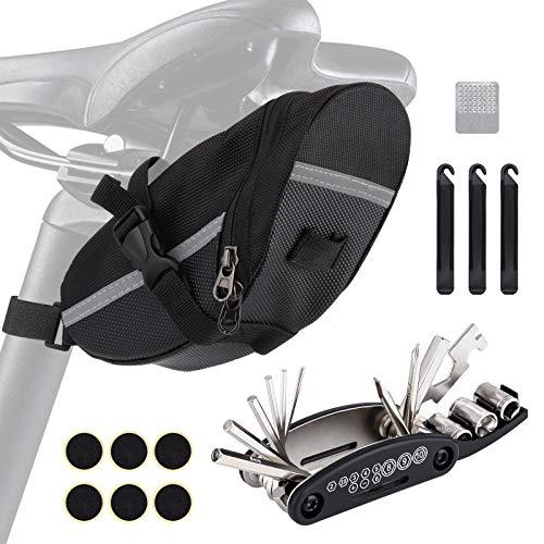Bolsa de sillín de bicicleta con herramientas