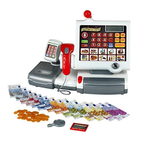 Theo Klein 9356 Caja registradora de juguete, Con teclado de lámina, función calculadora, terminal de pago con escáner y báscula con luz