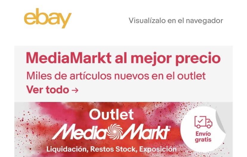 Liquidación de stock y exposición de Mediamarkt en Ebay