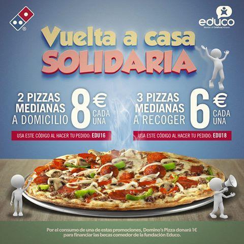 Domino's pizza cupon de 3 pizzas medianas a RECOGER en local 6€ cada una con codigo de descuento