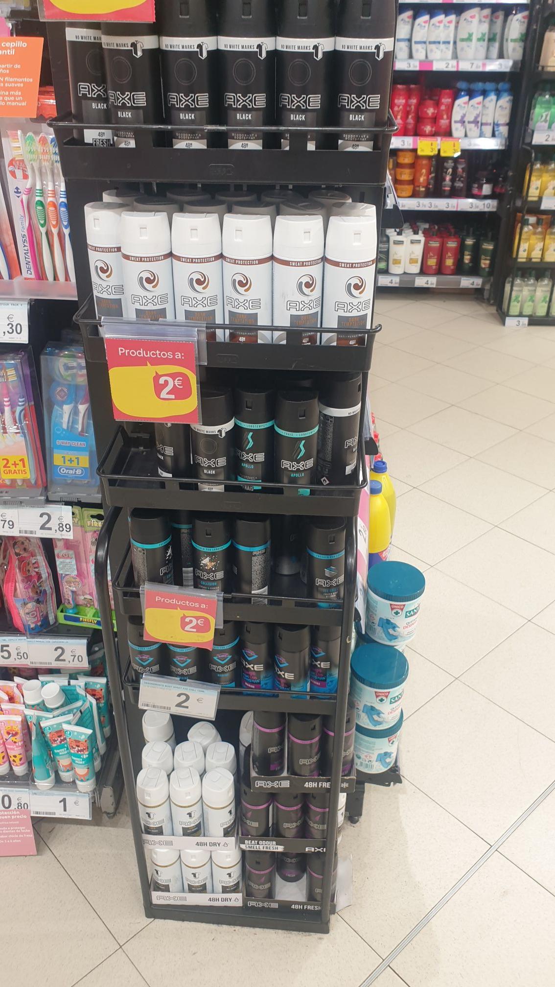 Carrefour cuatro caminos(Madrid) Desodorantes y anti-transpirantes axe a 2 euros