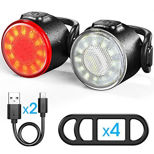 Luces Delanteras y Traseras Recargables USB Para Bicicleta