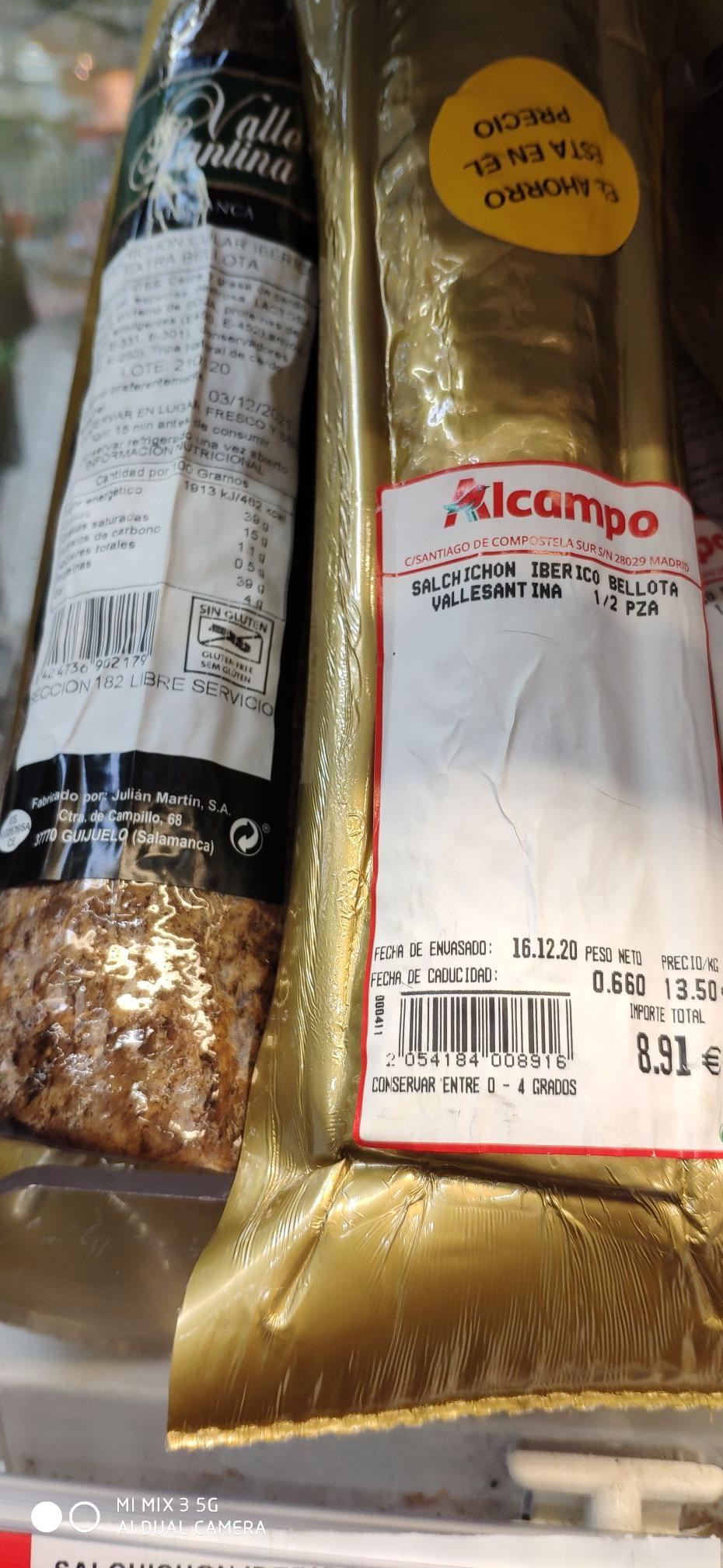 Salchichón o Chorizo Ibérico de bellota