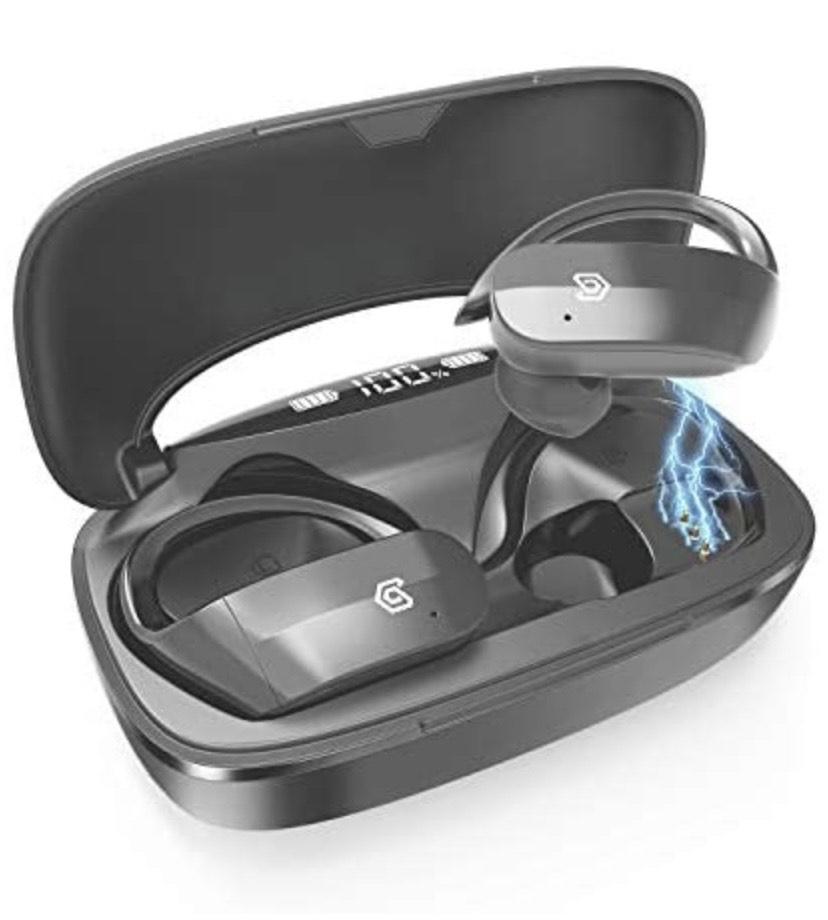 Axuan - Auriculares Bluetooth deportivos con funda de carga de 3000 mAh, 130 h de reproducción, impermeable IPX7
