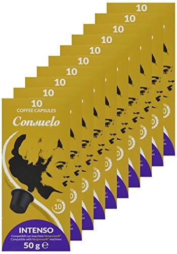 Consuelo - 100 cápsulas de café compatibles con Nespresso* - Intenso, 10x10