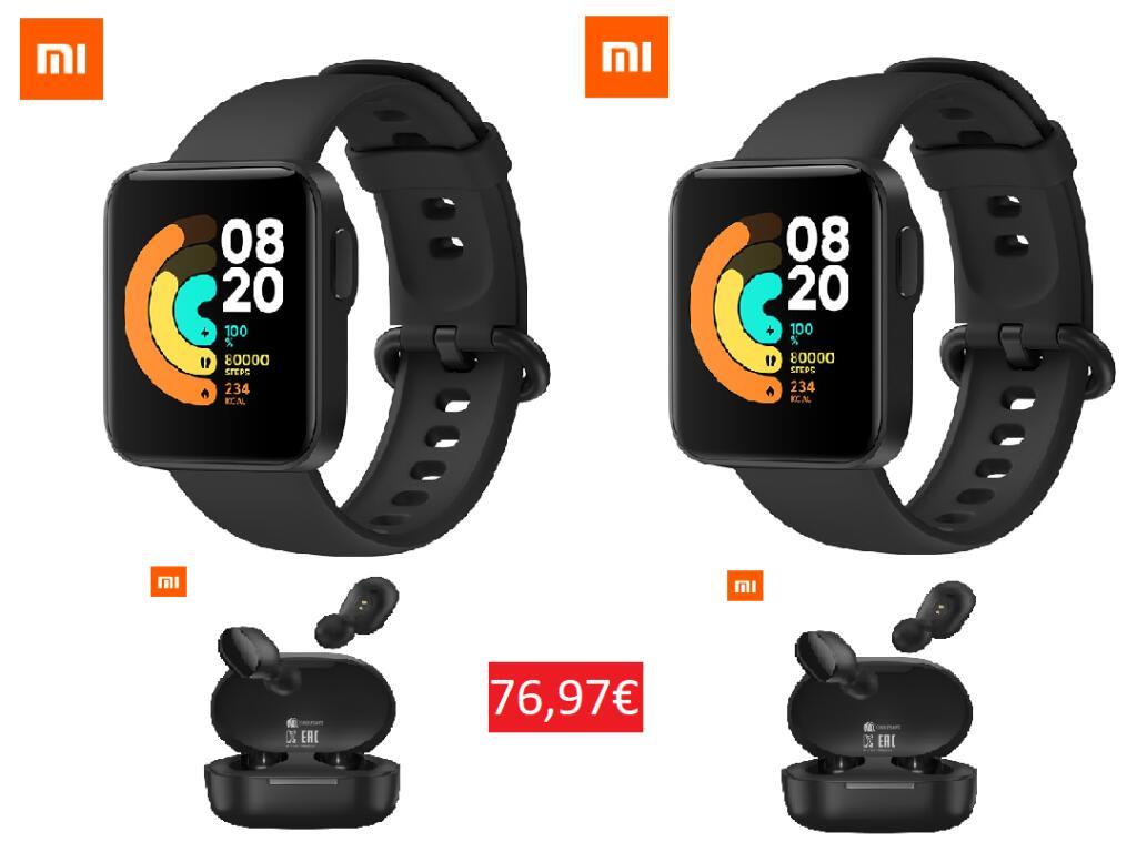 (Desde APP) 2 x Mi Watch Lite desde España + 2 x Auriculares Xiaomi Mi 2S por 76,97€ (Desde China 71,92€)