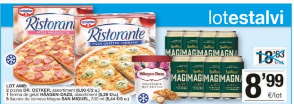 Lote: 2 pizzas dr.oetker + tarrina Häagen-Dazs variedades + 8 latas cerveza magna en supermercados bonpreu/esclat