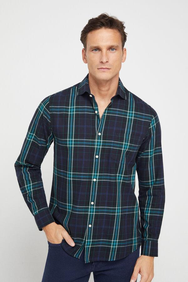 Camisa de cuadros para hombre 100% algodón