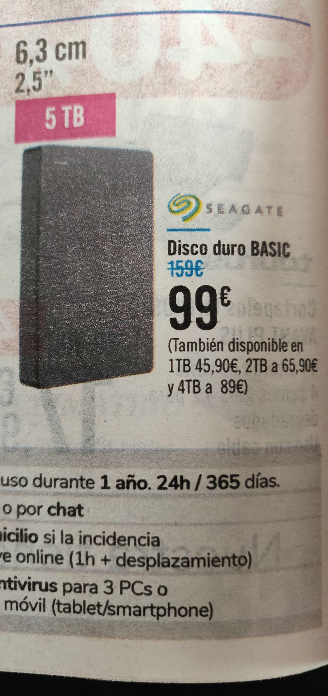 Carrefour Disco duro Seagate 5TB. En tienda.