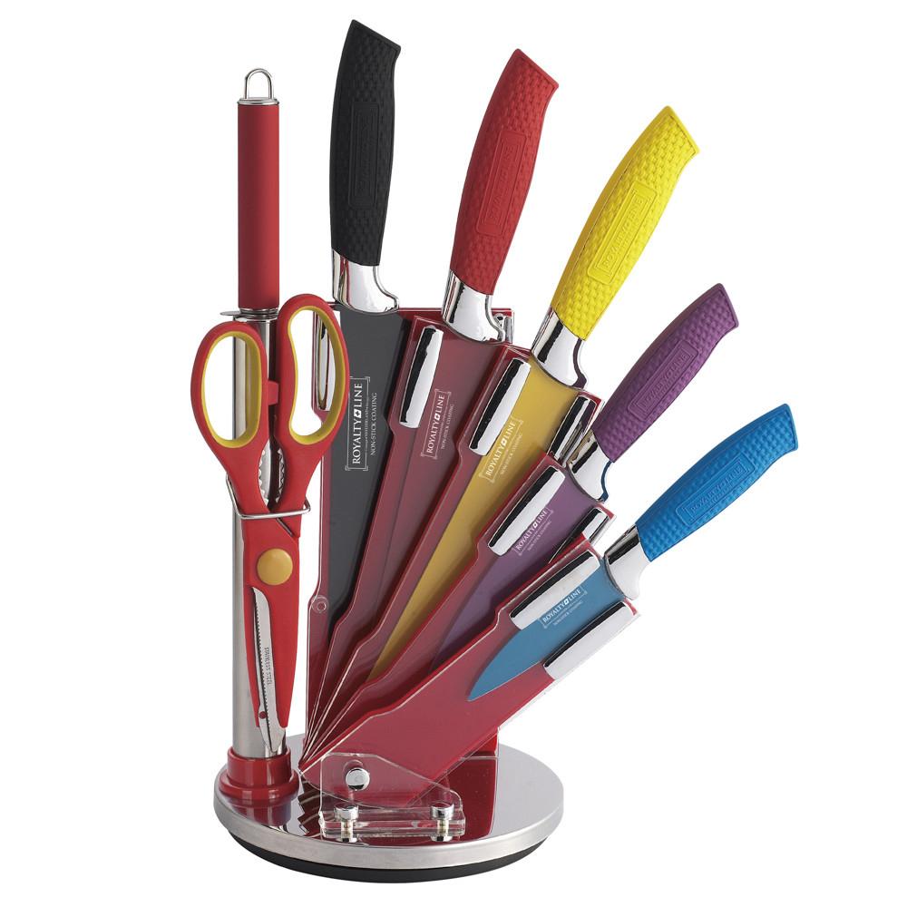 Kit 5 cuchillos con utensilios de acero antiadherente