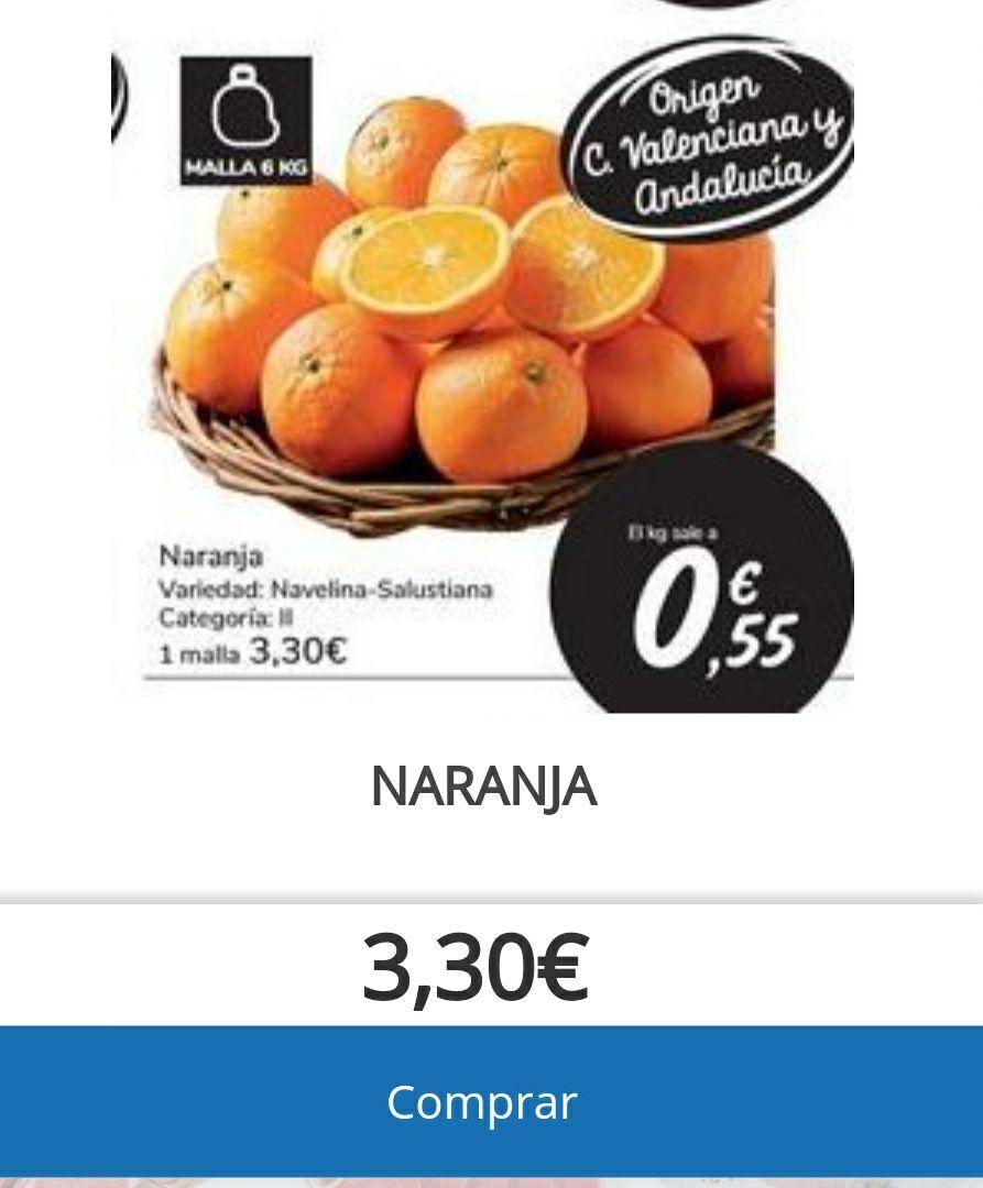 BOLSA DE NARANJAS DE 6 KG (3,30€) a 0,55€/kg. Procedencia Valencia y Andalucía.