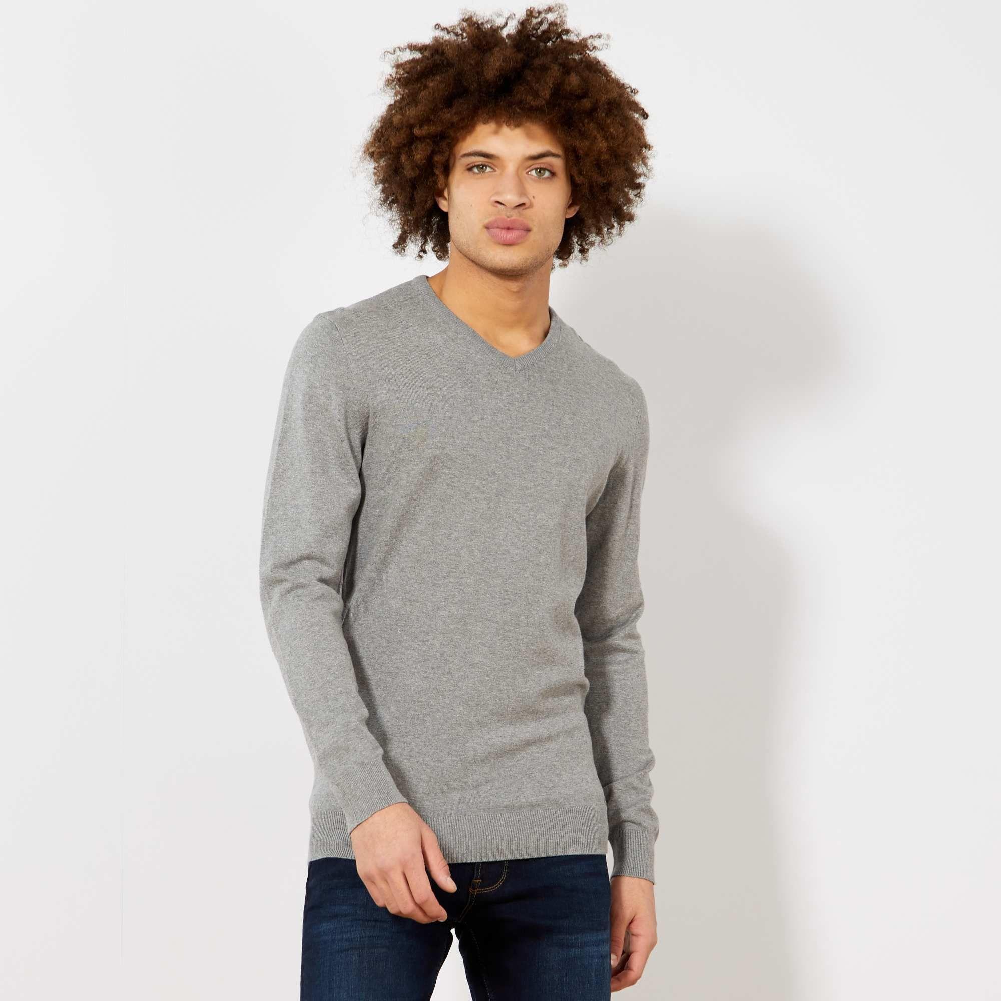 Jersey algodón cuello pico gris y negro tallas s y xs