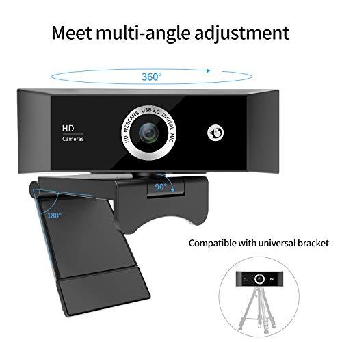 WebCam Barata 1080P Full HD con Micrófono Digital, Cámara Web Antiinterferencias para Oficina Remota y Grabación de Video