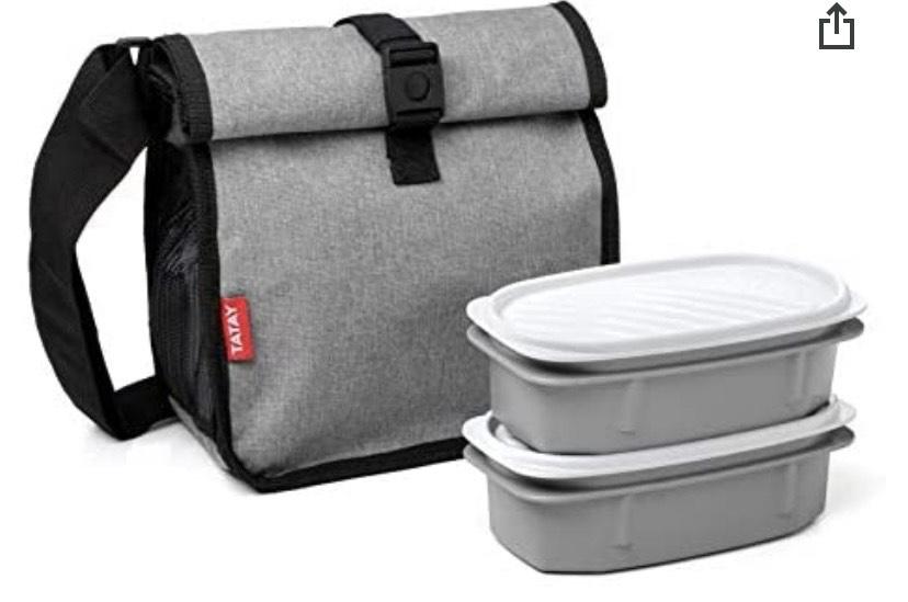 TATAY Bolsa térmica porta alimentos enrollable con 2 tápers herméticos incluido