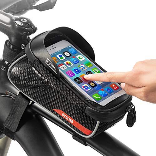 Bolsa para Manillar de Bicicleta, Gran Capacidad para Bicicleta con Funda Impermeable para teléfono con Pantalla táctil