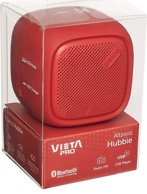 Vieta Pro Hubbie - Altavoz bluetooth, ipx4, batería de 4 horas y acabados en color rojo