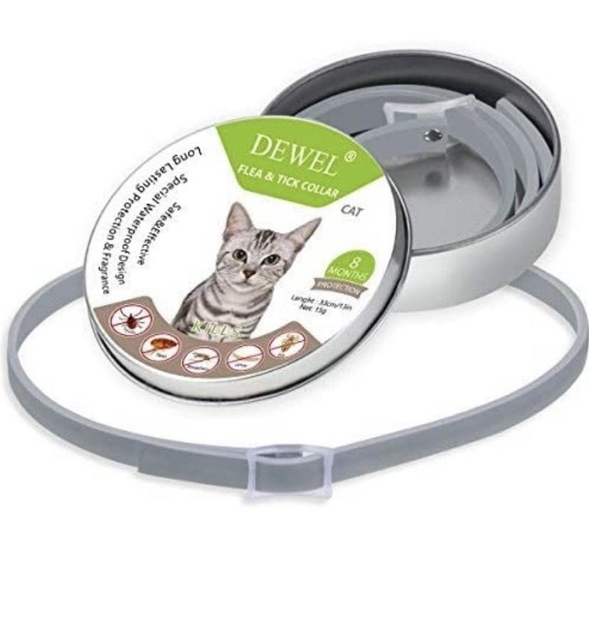 DEWEL - Collar antipulgas para mascotas ,34,5 cm, no tóxico, antialérgico, 8 meses de duración,